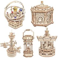 Robotime Rokr Music Box 3D Wooden Puzzle Game Assembly Model Building Kits Toys for Children Kids Birthday Gifts AMK 210909