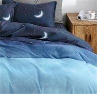 Yıldızlı Gece Gökyüzü Yatak Takımları Ay ve Yıldız Desen Degrade Renk Yorgan Kapak Seti Çarşaf Yastık Çocuklar için Çok Boyutlu 145 V2