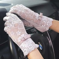 Five Fingers Gloves Women Lace Sunscreen Summer Spring Lady Stretch Touch Screen Anti Slip Resistant Driving Glove