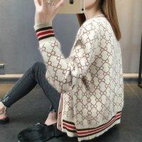 Tasarımcı Sonbahar Bayan V Boyun Kazak Uzun Kollu Pamuk Örgü Kazak Kadın Hırka Gevşek Rahat Ceket Palto Ladys Kol Jumper Giyim Boyutu S-4XL