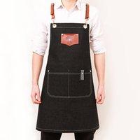 Grembiule Cowboy Coreano Moda Pittura Barista Tè negozio di tè Cameriere Stampa Parrucchiere Uniforme personalizzata Logo Y200103 74 S2
