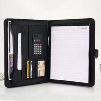 A4 File Organizer Portfolio Carpeta Bolsas de documentos PU Cuero Notepad Multifunción Titular de la tarjeta Pluma Clip Calculator Memo 370 V2