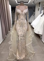 2021 Luxury Bling Evening Dresses Wear for Women Mermaid Jewel Neck Crystal Beading Long Sleeves Detachable Train Overskirts Floor Length Prom Dress Party Gowns