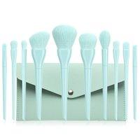 10 pçs / set Candy Color 4 Cores Maquiagem Escovas Profissional Eyeshadow Sobrancelhas Fundação Misturando Escovas Cosméticas Pó Blush Make Up Tool