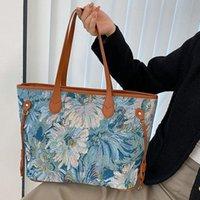 Evening Bags Retro Luxury Shoulder Fashion Design Handbag Trend Simple Flower Tote Bag Quality Leather Large-capacity Shopping