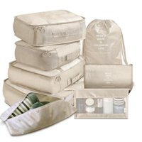 Storage Bags 8 Pieces Set Clothing Organizer Beige Packing Cubes Travel Suitcase Cases Luggage Shoe Tidy Pouch