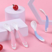 Spoons 2Pcs Baby Training Spoon Easy Grip Bendable Soft Perfect Self Feeding Learning Utensils Kids Cutlery