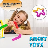 Plástico Telescópico Fole Toys sensory Circle Stretch Stretch Tube Brinquedos para Início da Criança Educação Criativa DIY Decompression Toy