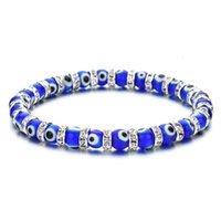 Popolare 6mm di vetro per perline in lega di diamante diamante braccialetto per donna elastica perline