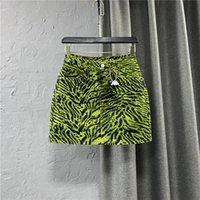 Neue design frauen hohe taille grün zebra drucken coole mode kurze denim jeans pencil rock plus größe smlxl