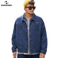 Vestes d'hommes Shan Bao 5XL 6XL 7XL 8XL Denim Veste 2021 Marque d'automne Classic Pocket Jeunes Casual Bleu Bleu Lampe