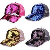 6 색 매직 스팽글 포니 테일 모자 인어 포니트 모자 메쉬 롤빵 포니 테일 캡 유니섹스 조정 가능한 야구 모자 스냅 백 163 x2