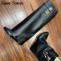Boot Bottes Véritables Bottes Femmes avec boucle de requin Boucle de haute qualité Chaussures coincées pointues de talon noir Style du genou 0903