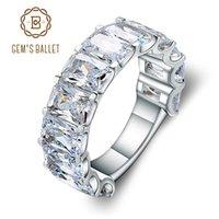 Cluster Anéis Gem's Ballet Clássico Casamento Cúbico Zirconia Canal Set Anel 925 Sterling Silver Zircon Para As Mulheres Engajamento Aniversário