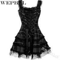 Casual Kleider Weppbel Gothic Stil Kleid Schlanke Taille Kurzer mittelalterlicher Cosplay Kostüme Frauen Ärmelloses Kreuz Schnür