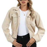 Women's Jackets Women Solid Color Short Coat Long Sleeve Lapel Neck Button-up Cropped Tops For Spring, Fall