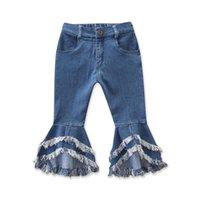 Одежда джинсовая вспышка брюки колокольчик дизайнер развратные джинсы ins ins girl брюки девочка дети детский стиль джинсовые днзовые ботинки кисточки dkkcs