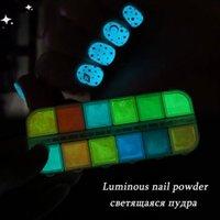 Nail Art Kits 2021 Luminous Powder Glow In Dark Neon Pigment Fluorescent Glitter Reflective Spray Dust Design Decor For Manicure