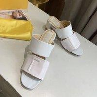 Frauen High Heels Designer Leder Sandalen Geprägte Maultierschuhe mit breitem Doppelband 65 mm Ferse Sommer Sexy Hausschuhe Top Qualität Nein 272