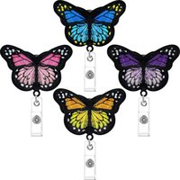 Butterfly Badge Reels Retractable Nurse Badge Holder Cute Butterfly ID Badge Reel with Alligator Clips for Nurses, Volunteers, Students, Teachers