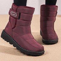 Women Boots Snow Boots Female Winter Shoes Warm Plush Ankle Woman Boots Waterproof Hook & loop No-slip botas de mujer 211021
