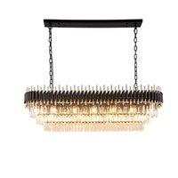 Овальный дизайн хрустальные люстры современные фойевые огни Черный туманок для столовой деко