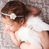 Ala di angelo del neonato con la fascia elastica del rhinestone Fotografia Fotografia da studio infantile Impostare il costume della foto della piuma bianca rosa BAW03