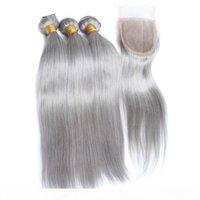 Шелковистые прямые бразильские серебряные серые человеческие волосы плетения с верхним закрытием серых цветных волос составляют 4шт с 4х4 кружевной закрытием