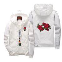 Розовая куртка ветровка мужчин и женская новая мода белый и0 черных роз