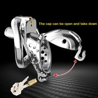 2021 New Arrival Openable Ring Quick Disassemble Cap Flip Design Male Metal Cock Cage Stainless Steel Chastity Device Adult Sex Toy A510-25