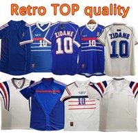 2004 1998 2002 Francia Fútbol Jerseys Retro Vintage Zidane Henry Maillot de Uniformes Uniformes Camisa de Fútbol Blancas Finales 2006 2000