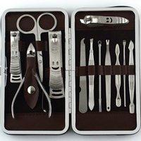 باديكير مقص الأظافر مانيكير مجموعة أدوات العناية الفولاذ المقاوم للصدأ مجموعات 12pcs كليبرز وقواطع لون الفضة جودة سوبر