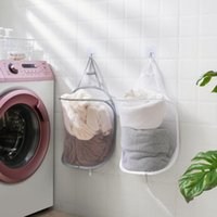 Laundry Bags Foldable Dirty Basket Bathroom Mesh Bag For Bath Toys Washing Underwear Sundries Storage Baskets Household Organizer