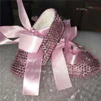 First Walkers Blush Pink Rhinestones Bling Baby Shoes Ballerina Satin Custom-made Sparkle DMC Glass Cirb Christening 1st Birthday Infant