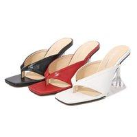 Sandálias Odinokov Senhoras com alças de saltos altos chinelos Flip-Flops Square Head Party Shoes
