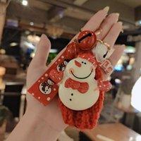 Keychains Christmas Winter Gift Keychain Cute Father Deer Snowman Key Chain Warm Charm Girl Boy Bag Pendant Keyring Happy Friends
