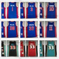 Retro hombre Mitchellness Basketball Jerseys 1988-89 Dennis 10 Rodman Isiah 11 Thomas Grant 33 Hill 2003-04 Ben 3 Rasheed 30 Wallace Chauncey 1 Billups Richard 32 Hamilton