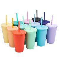 Coupes de paille en plastique à double couche de 16oz Adultes de la mode Adultes et enfants Direcine Coffee Cuisson Couleurs Coupe d'eau givrée en plastique avec paille