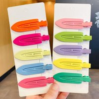 Hair Accessories Trendy Snap On Hairpins Barrettes Candy Colors Geometric Girls Hairgrips Fashion Duckbill BB Clip Women Jewelry