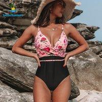 Frauen Badebekleidung Beachsissi Sexy Einteiler Frauen Blume Druck Badeanzug 2021 Twist Criss Cross Front Strand Schwimmen Wear Bikinis Biquini