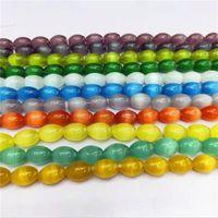 Multicolor Selectio 8x12mm Vermelho Mexicano Opal Arroz Barrel Cat Eye Spacers Acessórios Loose Beads para Jóias Fazendo 15 polegadas GE5353