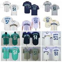Мужчины бейсбол пенсионер 51 Рэнди Джонсон Винтаж Джерси Пуловер FlexBase Cool База сшитые зеленый белый серый бежевый военно-морской синий команда Ретро 2016