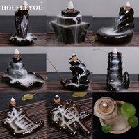 Sachet Bags HOUSEEYOU 14 Kinds Of Creative Home Decor Backflow Stick Incense Burner Ceramic Glazed Censer Decoration In Room