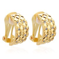VAROLE Grid Pattern Clip-on Screw Back Earrings For Women Stripe Without Piercing Ear Cuff Gold Color Earring Fashion Jewelry Gifts Boucle Oreille