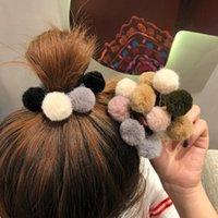 Mulher pompom cabelo laços meninas elástico faixa de cabelo de borracha acessórios de cabelo acessórios goma corda bonito scrunchies rabo de cavalo