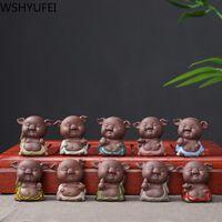 1 ADET Mor Kil Güzel Domuz Heykelcik Süs Parmak Küçük Çay Evcil Butik Çay Masa Dekorasyon El Yapımı Çay Seti El Sanatları