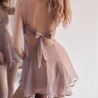 Ropa de dormir de las mujeres Negro Suspender Nightdress Kawaii Lencería Temptación Sexy Mujeres Vintage Nightgowns Ropa de hogar Drop