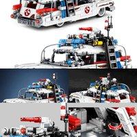 Ecto-1 1126pcs Car 1:18 Racing High-tech Building Ghostbusters Blocks Pullback Expert Movie Vehicle Bricks Toys For Children X05032021