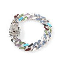 Luxus Tennis Armband CZ Euro aus Email Bunte Kubanische Kette Armbänder Kristall Hochzeit Armreif Für Frauen Männer Hüfte Pop Schmuck