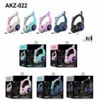 Nuevo AQUZ-022 Auriculares inalámbricos con estereo de oreja plegables con micrófono LED LED y soporte de control de volumen Auriculares para audífonos para gatos con cable Luces brillantes